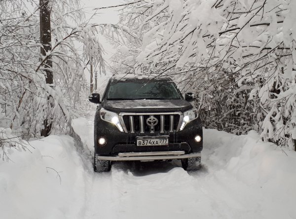 Бензин против дизеля: «Рогатые» Toyota Land Cruiser Prado сравнили в езде по снегу